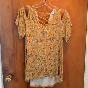 Mustard floral cut out shirt